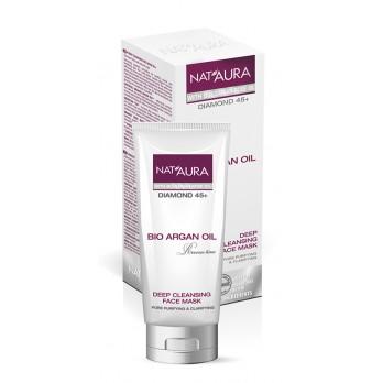 NAT'AURA přírodní čistící maska na obličej s arganovým a růžovým olejem 75ml (Zcela odstraní nečistoty při zachování přirozené vlhkosti pokožky.)
