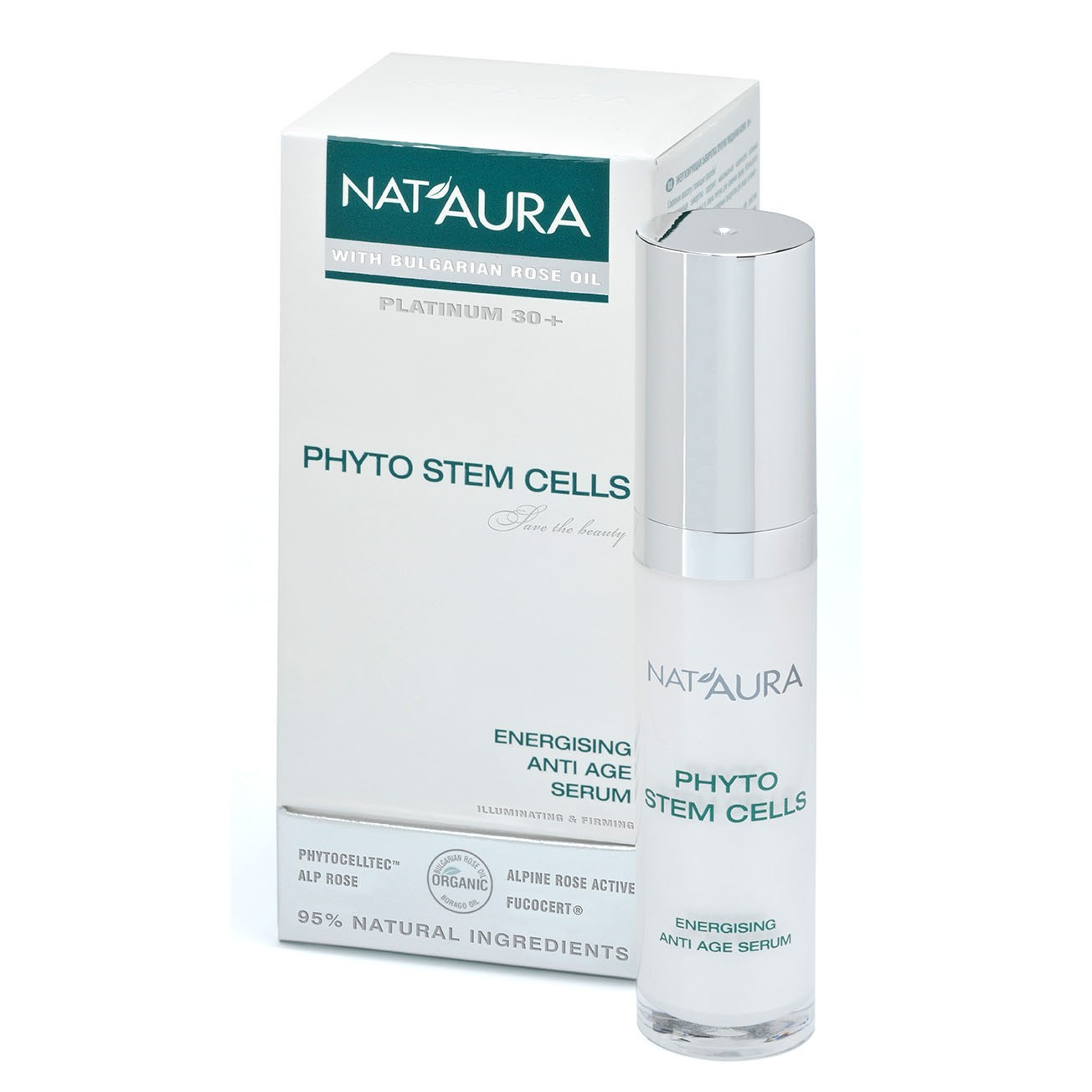 NAT'AURA energizující antiage sérum s růžovým olejem a s bio alpskou růží 30ml (Bohatá formule stimuluje regeneraci pokožky a aktivuje obnovenu buněk. Ideální péče pro prevenci stárnutí pokožky ve věku 30 +)